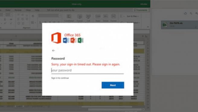 La compañía ha subido una imagen del supuesto Excel que envían los delincuentes para robar la contraseña.