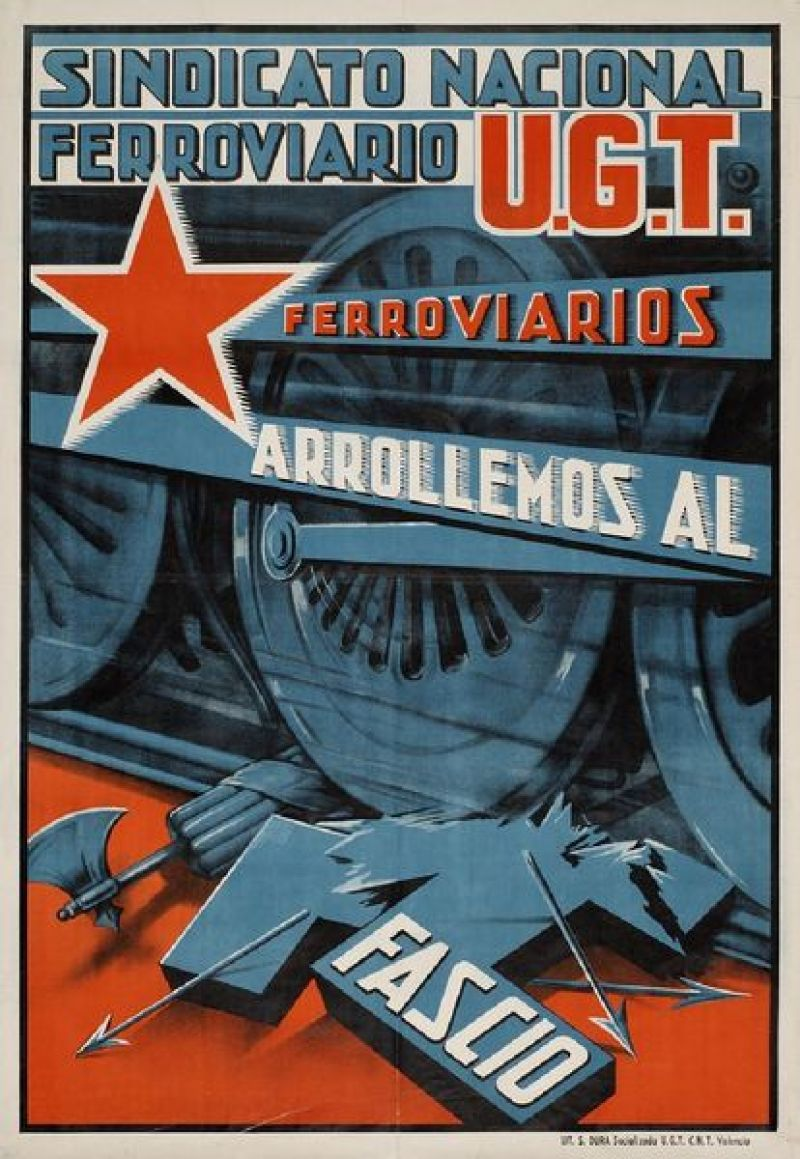 Poster of the National Railway Union and UGT of the year 1937