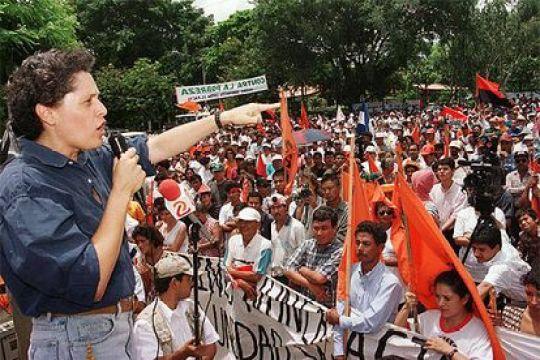 Dora María Téllez, during a political event in Managua, in 1999.