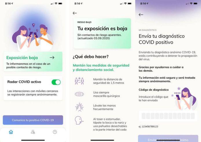 Radar Covid, la app del Gobierno de España.