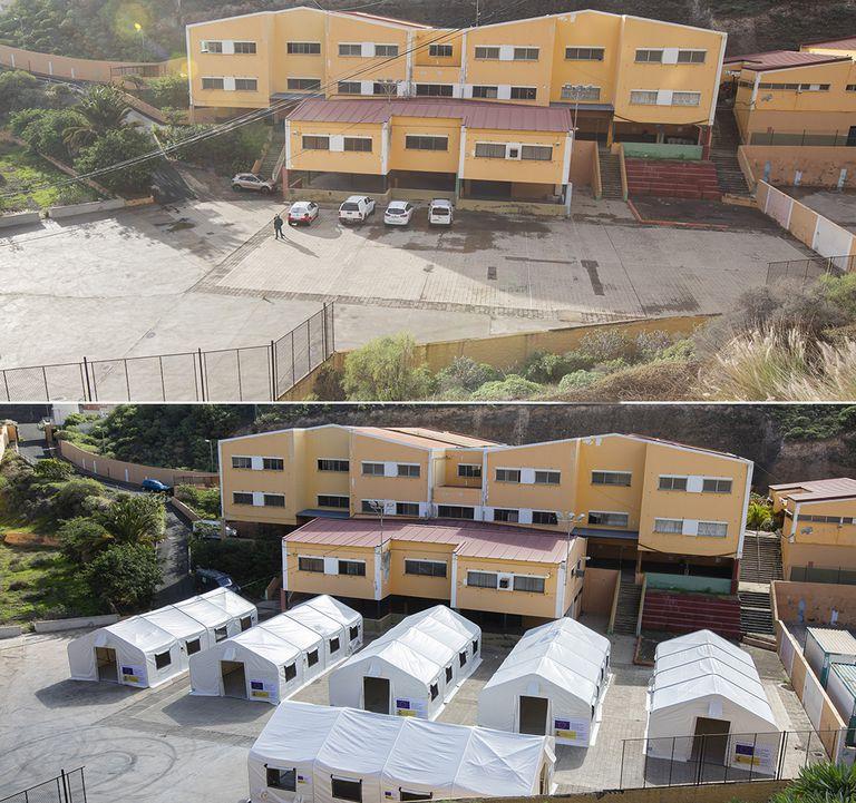 Montaje del campamento en el colegio León, en la barriada de El Lasso, en Las Palmas de Gran Canaria.