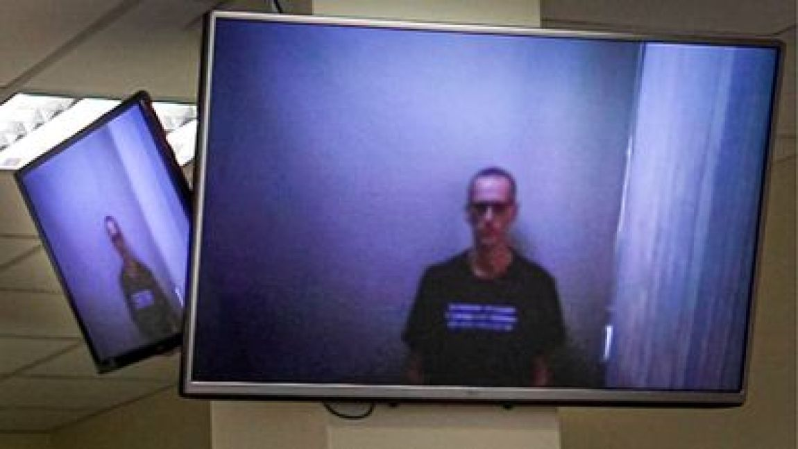 Navalni, in a judicial hearing by videoconference from the penal colony where he is serving a sentence, on April 29.