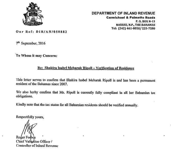 Certificado que aportó Shakira para justificar su residencia en Bahamas.