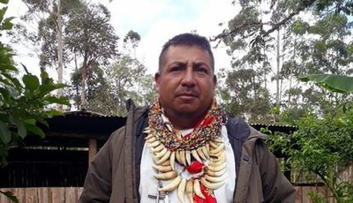 Francisco Javier Jamioy Chindoy, traditional camsá doctor, this year in front of the family's healing house in the Sibundoy valley (Colombia).