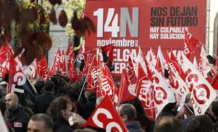 Los indignados europeos<br> se ponen a la cabeza de<br> la movilización del 14-N