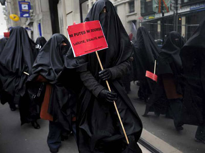 Marcha contra el burka, el pasado enero, en París.
