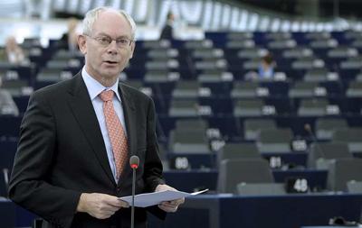 El presidente del Consejo Europeo, Herman Van Rompuy, da un discurso sobre las conclusiones sacadas en la última reunión del Consejo Europeo.