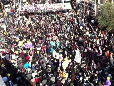Manifestantes opositores hoy en Idlib - AFP