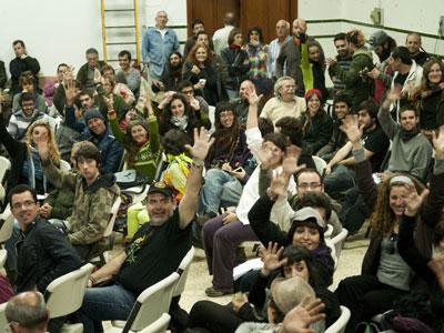 Participantes en el encuentro, ayer en Marinaleda.