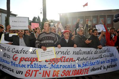 Manifestación en solidaridad con el pueblo egipcio, el pasado sábado en Rabat. - AFP