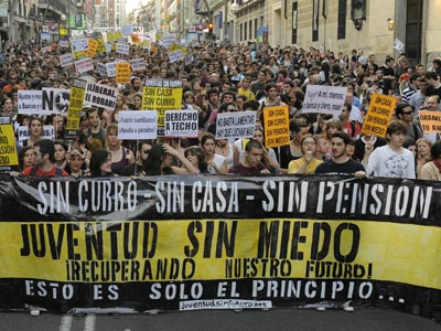 Jóvenes en la protesta de Madrid del 7 de abril. - D. P.