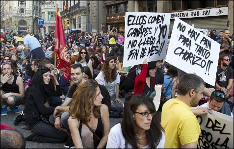 Momento de la manifestación en Barcelona.