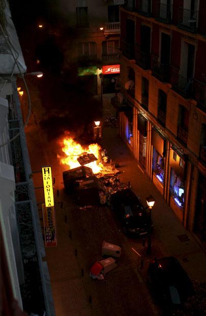 Disturbios que tuvieron lugar al final de la manifestación.
