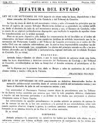 BOE del 23 de septiembre de 1939 con la norma que declaró lícita la violencia contra la República.