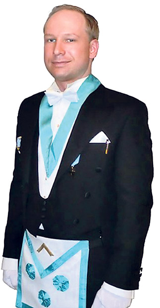 1. LA MASONERÍA. En una de estas imágenes, Breivik aparece ataviado con un mandil que indica su posible pertenencia a una logia masónica. La televisión noruega TV2 ha publicado una lista de una logia en la que aparece su nombre, aunque este dato no se ha confirmado.