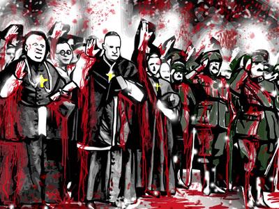 Dibujo de Kalvellido basado en una fotografía de curas afines al franquismo.
