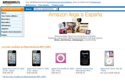 Vista de la página web de Amazon en España.