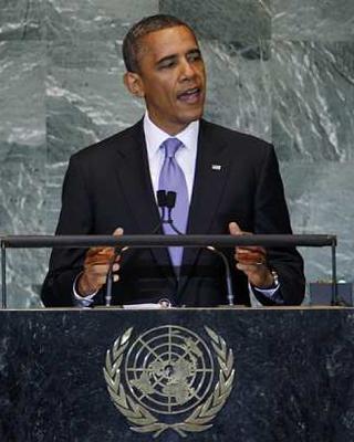 El presidente de EEUU, Barack Obama, durante su intervención en la 66 Asamblea General de la ONU. -