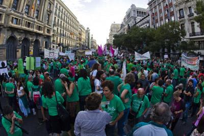 Manifestación de profesores en contra de los recortes, el miércoles pasado, en Madrid. -