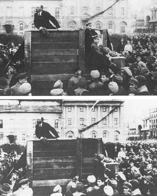 """Fotografía de la época de Stalin en la que se hizo """"desaparecer"""" a Trotski y Kámenev. Desconozco el nombre del autor."""