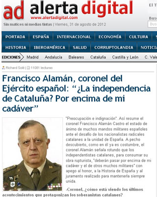 Captura de la entrevista que reproduce las declaraciones del coronel Francisco Alamán.