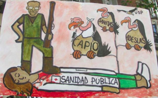 Uno de los carteles exhibidos durante las 'mareas blancas' madrileñas muestra, en una viñeta, la 'muerte' de la sanidad pública en manos de empresas privadas.