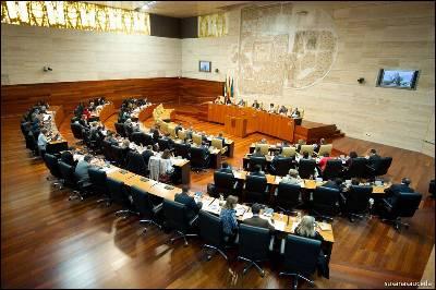 Pleno del Parlamento de Extremadura.
