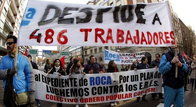 Manifestación contra los despidos en Roca.