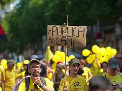 La Marcha por la Educación, a su llegada a Barcelona. EFE
