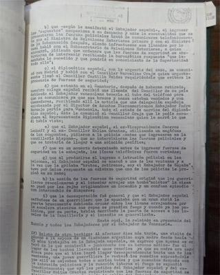 Detalle del informe sobre el asalto a la embajada española.