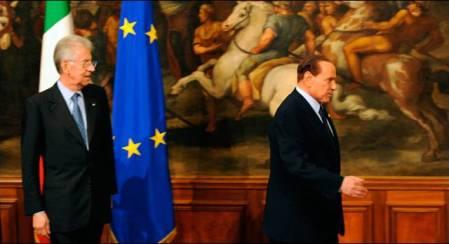 Sivio Berlusconi y Mario Monti, el día de la investidura del tecnócrata.-