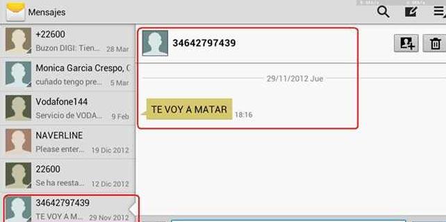 Captura de pantalla de un teléfono móvil en el que la Asociación de Internautas probó una de las herramientas para manipular SMS y 'whatsapps'. ASOCIACIÓN DE INTERNAUTAS.