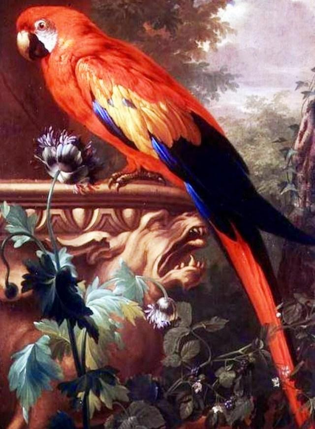 Imagen de una pintura al oleo de una guacamaya del amazonas