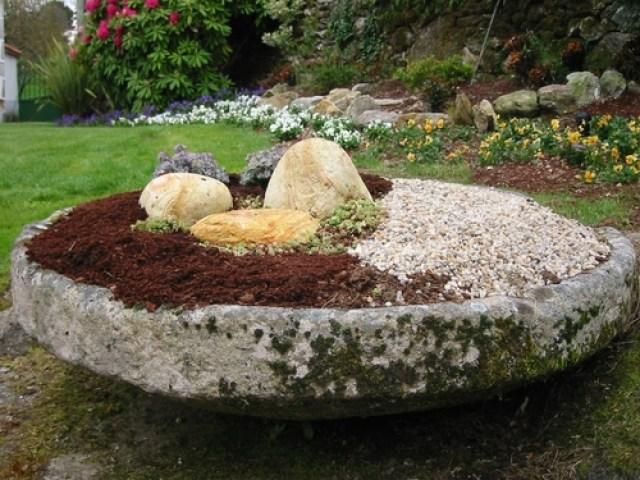 Imagen Pequeño Jardín Con Piedras