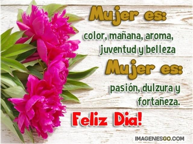 Imagen con flores con frase para desear feliz día de la mujer