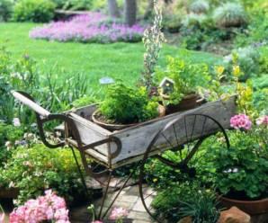 imagenes de jardines decorados con carretas recicladas