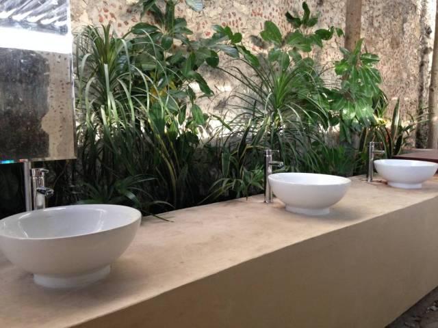 imagenes de baños con jardines