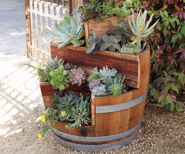 Imagenes de Barriles para decorar el jardin