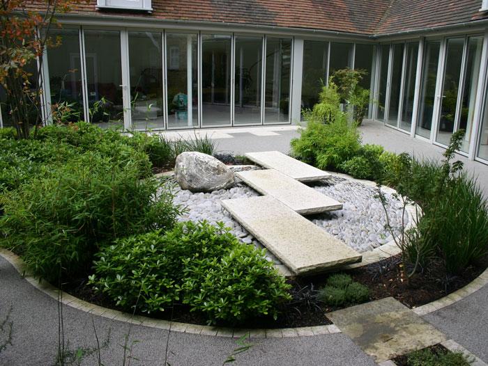 jardines modernos minimalistas con piedras. Black Bedroom Furniture Sets. Home Design Ideas