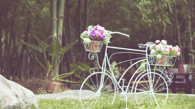 Imagenes de bicicletas recicladas para decorar con flores el jardin