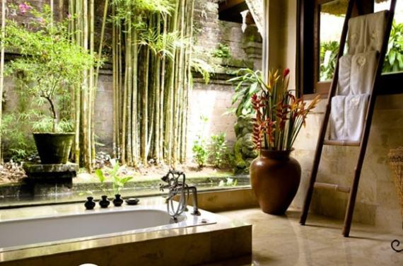 Imagenes de casas con jardines en el baño