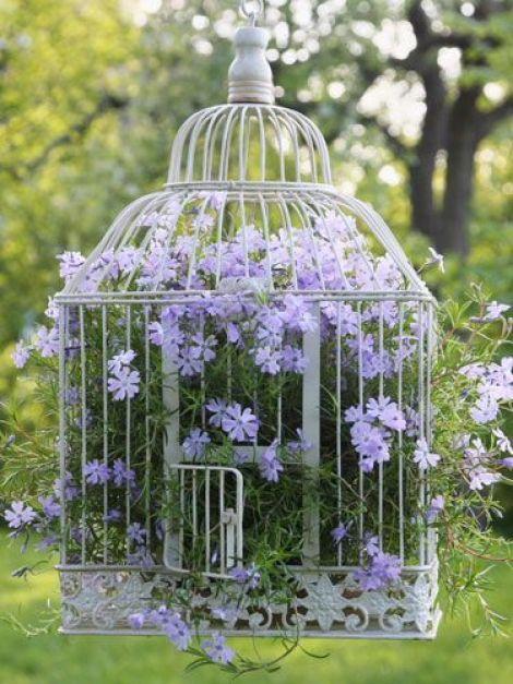 Imagenes de cosas recicladas para decorar con flores el jardin