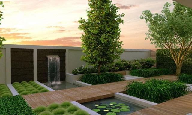 Jardin contemporaneo con fuentes de agua imagenes