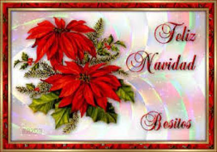 Tarjeta feliz navidad para descargar con flores navideñas
