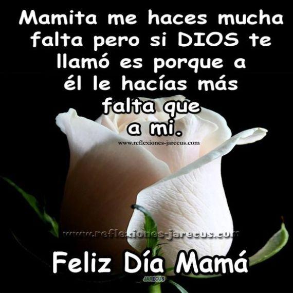 Imagen rosa blanca con mensaje para una madre en e l cielo