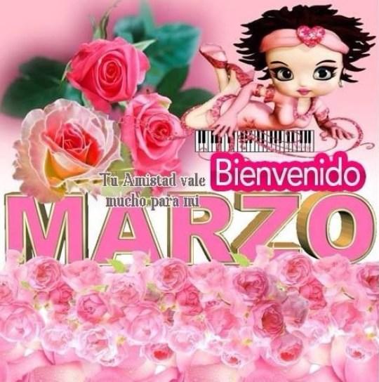 Postales de rosas bienvenido marzo para enviar