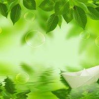 Wallpaper gratis de Barco de papel en rio verde, en HD.