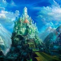Wallpaper gratis de ciudad fantástica entre montañas, en HD.