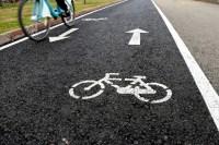 carretera, bicicleta, parque