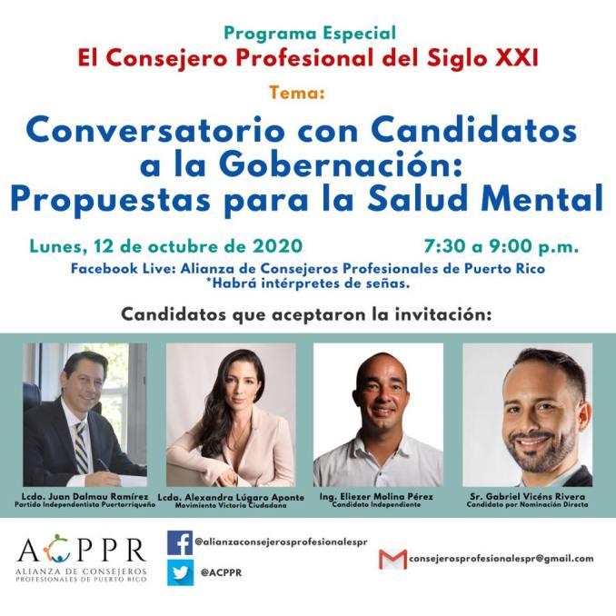 Alianza de Consejeros Profesionales moderará conversatorio sobre la Salud Mental con los candidatos a la Gobernación